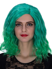 Anime Costumes AF-S2-633477 Halloween Women's Wigs Green Wavy Ombre Shoulder Length Side Parting Hair Wigs
