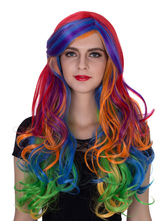 Anime Costumes AF-S2-633515 Halloween Long Wigs Women's Multi-color Curly Synthetic Hair Wigs With Side-swept Bangs