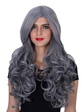 Anime Costumes AF-S2-633529 Halloween Gray Wigs Women's Long Curly Synthetic Side Parting Hair Wigs