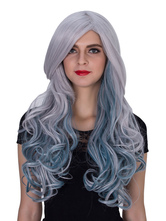 Anime Costumes AF-S2-633523 Halloween Women's Wigs Gray Long Curly Highlighting Synthetic Hair Wigs