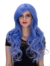Anime Costumes AF-S2-633531 Halloween Blue Wigs Women's Long Curly Ombre Synthetic Side Parting Hair Wigs