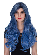 Anime Costumes AF-S2-633517 Halloween Women's Wigs Blue Long Curly Synthetic Hair Wigs