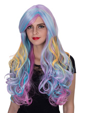 Anime Costumes AF-S2-633509 Halloween Hair Wigs Women's Long Multi-color Curly Highlighting Wigs