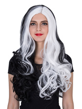 Anime Costumes AF-S2-633513 Halloween Women's Wigs Women's Long Curly Black White Side Parting Hair Wigs