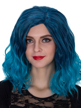 Anime Costumes AF-S2-633491 Halloween Women's Wigs Blue Ombre Wavy Shoulder Length Side Parting Hair Wigs
