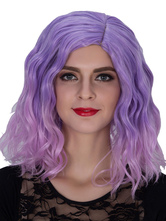 Anime Costumes AF-S2-633487 Halloween Women's Wigs Lilac Wavy Shoulder Length Side Parting Synthetic Hair Wigs