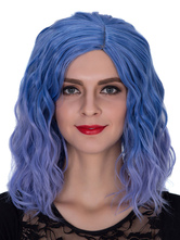 Anime Costumes AF-S2-633489 Halloween Hair Wigs Women's Blue Ombre Wavy Shoulder Length Synthetic Wigs