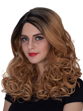 Anime Costumes AF-S2-633473 Halloween Women's Wigs Brown Ombre Long Curly Side Parting Synthetic Hair Wigs