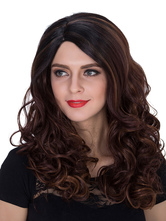 Anime Costumes AF-S2-633467 Halloween Long Wigs Women's Curly Deep Brown Highlighting Layered Synthetic Hair Wigs