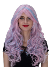 Anime Costumes AF-S2-633533 Halloween Long Wigs Women's Pink Highlighting Curly Side Parting Synthetic Hair Wigs