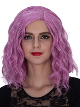 Anime Costumes AF-S2-633475 Halloween Women's Wigs Purple Wavy Shoulder Length Side Parting Hair Wigs