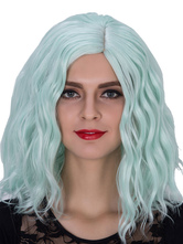 Anime Costumes AF-S2-633495 Halloween Green Wigs Women's Wavy Shoulder Length Side Parting Hair Wigs