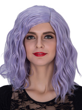 Anime Costumes AF-S2-633483 Halloween Women's Wigs Wavy Royal Purple Shoulder Length Synthetic Side Parting Hair Wigs