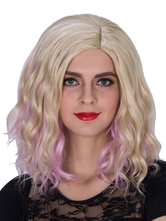 Anime Costumes AF-S2-633507 Halloween Women's Wigs Pink Gold Wavy Shoulder Length Side Parting Hair Wigs