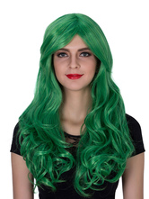 Anime Costumes AF-S2-633527 Halloween Long Wigs Green Women's Curly Synthetic Centre Parting Hair Wigs
