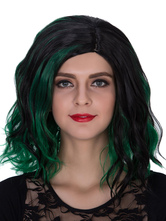 Anime Costumes AF-S2-633481 Halloween Women's Wigs Wavy Dark Green Ombre Shoulder Length Synthetic Side Parting Hair Wigs