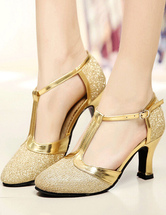 Gold Ballroom Shoes Glitter Round Toe T Type Vintage Shoes Salsa Dance Shoes