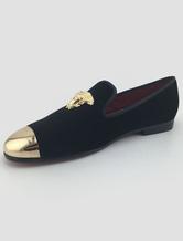 Mocassin pour homme 2021 Mocassins métal Toe Cap plat Slip velours hommes On Casual chaussures en noir