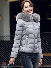 Giacca imbottita da donna Cappotto trapuntato corto in pelliccia sintetica  per l inverno 940f6d9e45a