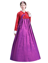 Anime Costumes AF-S2-634421 Halloween Korea Costume Party Dress Traditional Women's Satin Two Tone Long Skirt Set In 2 Piece