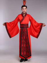 Anime Costumes AF-S2-634481 Halloween Chinese Costume Fancy Dress Han Ancient Costume Red Satin Gown Set For Men In 3 Piece