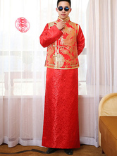 Anime Costumes AF-S2-634487 Halloween Chinese Costume Fancy Dress Traditional Gentlemen Costume Men's Red Gown Set In 2 Piece