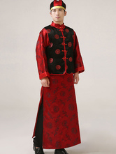 Anime Costumes AF-S2-634489 Halloween Chinese Costume Men's Red Qing Manchu Prince Robe Costume Outfit