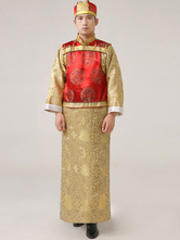 Anime Costumes AF-S2-634491 Halloween Chinese Costume Yellow Men's Ancient Qing Prince Robe Costume Outfit