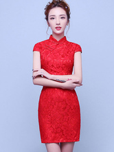 Anime Costumes AF-S2-634493 Halloween Chinese Costume Lace Cheongsam Women's Red Bodycon Wedding Qipao Dress