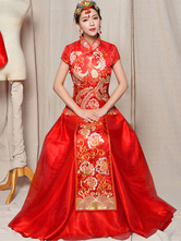 Anime Costumes AF-S2-634495 Chinese Cheongsam Costume Halloween Women's Red Phoenix Wedding Long Skirt With Top