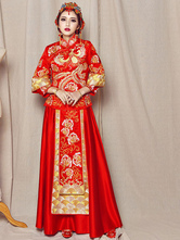Anime Costumes AF-S2-634497 Chinese Cheongsam Costume Halloween Phoenix Wedding Women's Red Qipao Long Skirt With Top