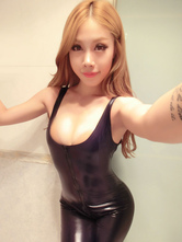 Anime Costumes AF-S2-634537 Halloween Catsuit Costume Black Sexy Scoop Sleeveless Zippered Lycra Bodycon Jumpsuit