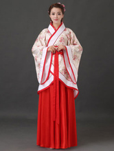 Anime Costumes AF-S2-634479 Halloween Chinese Costume Fancy Dress Han Ancient Costume Red Satin Long Skirt Set In 3 Piece