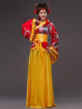 Anime Costumes AF-S2-634477 Halloween Chinese Costume Fancy Dress Yellow Traditional Empress Satin Long Skirt Set In 3 Piece