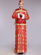 Anime Costumes AF-S2-634473 Halloween Chinese Costume Fancy Party Dress Red Traditional Emperor Prince Baylor Satin Gown Set In 3 Piece