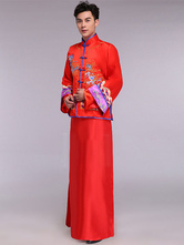 Anime Costumes AF-S2-634465 Halloween Chinese Costume Men's Wear Chinese Style Wedding Gown With Red Embroidered Groom Toast Clothing