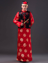 Anime Costumes AF-S2-634453 Halloween Chinese Costume Ancient Baylor Red Satin Printed Gown With Waistcoat & Hat