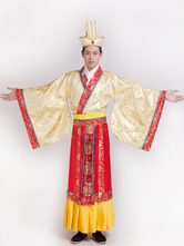 Anime Costumes AF-S2-634449 Halloween Chinese Costume Ancient Prince Satin Two Tone Top With Fancy Long Dress & Hat For Men