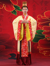 Anime Costumes AF-S2-634447 Halloween Chinese Costume Fancy Dress Tang Ancient Costume Emperor Yellow Satin Gown Set For Men In 3 Piece