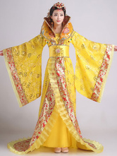 Anime Costumes AF-S2-634443 Halloween Chinese Costume Fancy Dress Tang Ancient Costume Empress Yellow Satin Dress Set In 3 Piece With Train