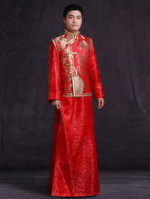 Anime Costumes AF-S2-634439 Halloween Chinese Costume Fancy Dress Ancient Groom Gentlemen Costume Red Satin Embroidered Gown Set In 3 Piece