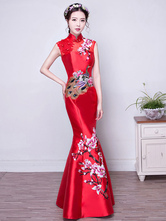 Anime Costumes AF-S2-634437 Halloween Chinese Costume Red Short Sleeve Embroidered Slim Fit Long Mermaid Cheongsam Dress