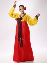Anime Costumes AF-S2-634399 Halloween Korean Costume Fancy Dress Traditional Women's Satin Wrap Floor Length Maxi Dress Set