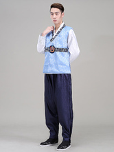 Anime Costumes AF-S2-634405 Halloween Korean Costume Fancy Dress Traditional Men's Satin Loose Pants Set In 3 Piece