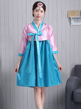 Anime Costumes AF-S2-634413 Halloween Korean Costume Fancy Dress Traditional Women's Bow Crepe Wrap Dress Set In 2 Piece