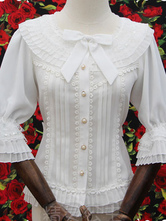 Lolitashow Sweet Lolita Blouse White Ruffle Half Sleeve Sequins Bows Fairy Princess Tiered Lolita Shirt