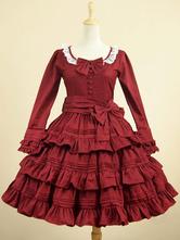 Classic Lolita Dress OP Borgogna collo rotondo manica lunga a strati un pezzo di vestito con gli archi