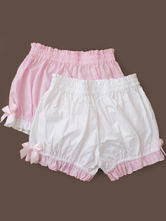 Lolitashow Sweet Lolita Bloomers Cotton Bow Ruffled Lolita Short Pumpkin Pants