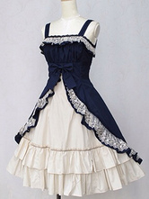 Lolitashow Classic Lolita Dress JSK Cotton Two Tone Ruffled Bow Lace Up Lolita Jumper Skirt