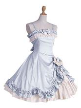Lolitashow Sweet Lolita Dress JSK Lace Bow Ruffled Spaghetti Strap Lolita Jumper Skirt Petticoat Included